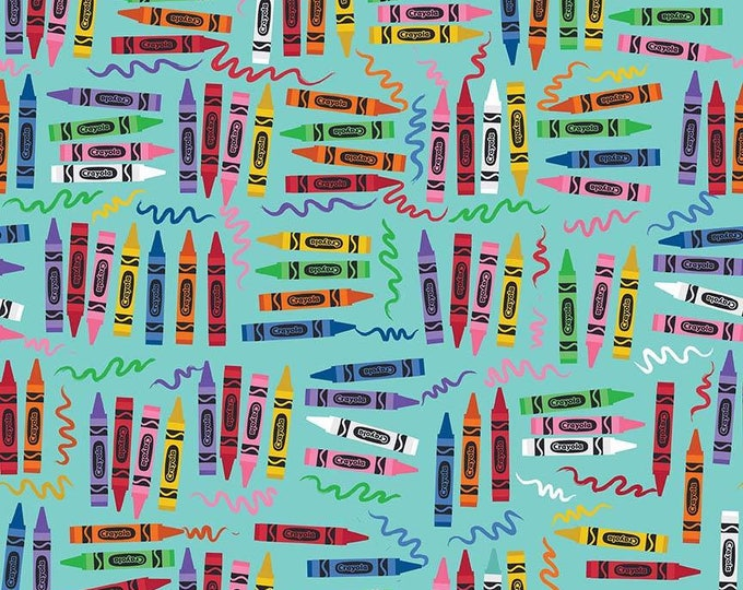 Riley Blake Fabrics - Crayola Art Box -  Crayons on Aqua Cotton Woven Fabric