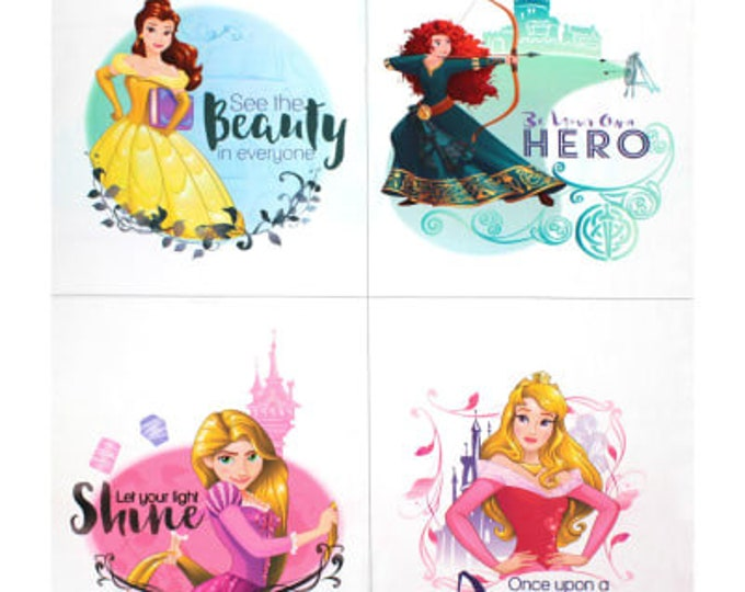 Heart Strong See the Beauty in Everyone 36 Inch Cotton Woven Fabric Panel - Disney Princesses by Camelot