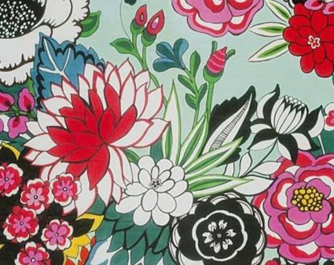Alexander Henry Fabric - Garden at Coyocan- Aqua Brite, Frida cotton Woven Fabric