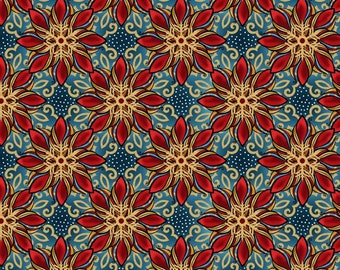 In The Beginning - Celestial Winter by Jason Yenter - Starflowers - Blue   5ACW-1M Metallic Cotton Woven Fabric