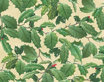 CLEARANCE -  Quilting Treasures Hautman Brothers Winter Birds Collection and Coordinates 1 Yard Packed Holly Leave Beige-Cotton Woven