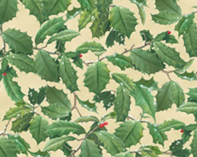 Quilting Treasures Hautman Brothers Winter Birds Collection and Coordinates 1 Yard Packed Holly Leave Beige-Cotton Woven