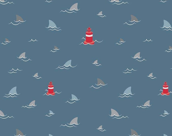 Riley Blake - Fins, Sharks and Fins Novelty Navy Blue Cotton Woven Fabric  C9011-Navy