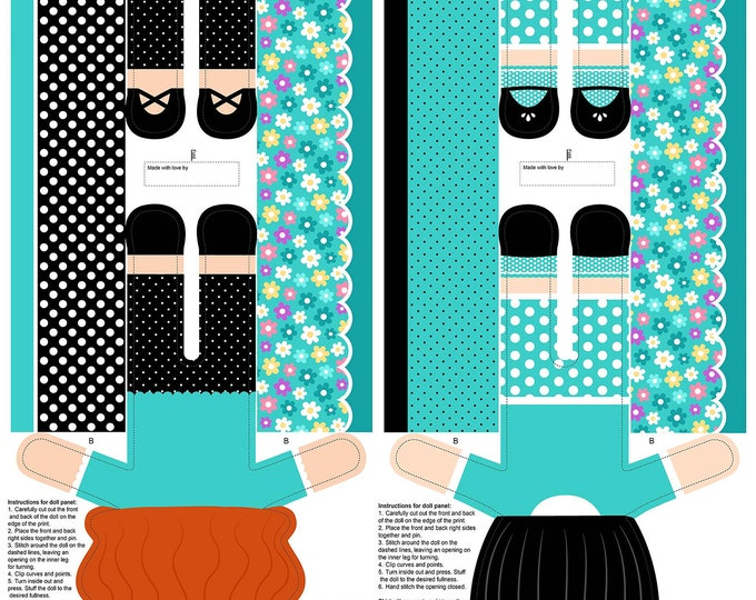 Northcott Fabrics - Girls of The World - Girls Stuffed Doll Panel - Teal - 24 Inch Panel 22341-63 Cotton Woven Fabric