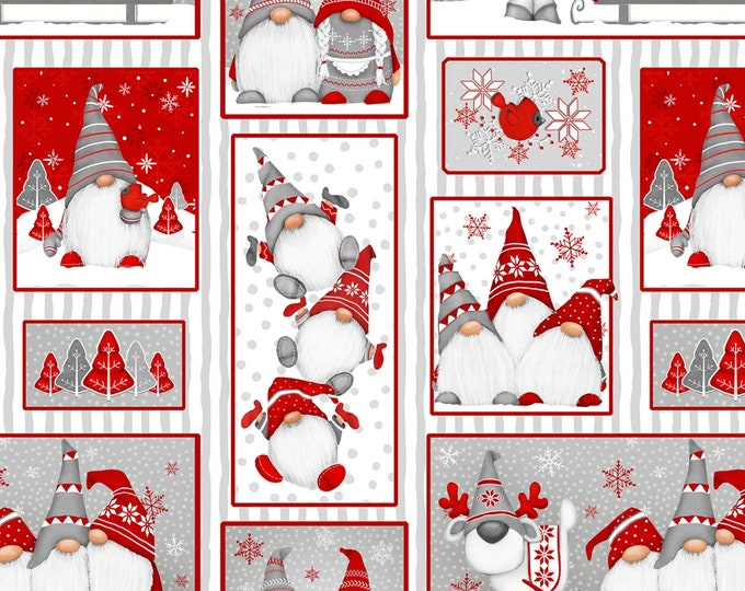 Henry Glass Fabrics - Winter Whimsy Flannel - Red Gnomes Patch Allover Flannel # F1625-89 - 100% Cotton Flannel