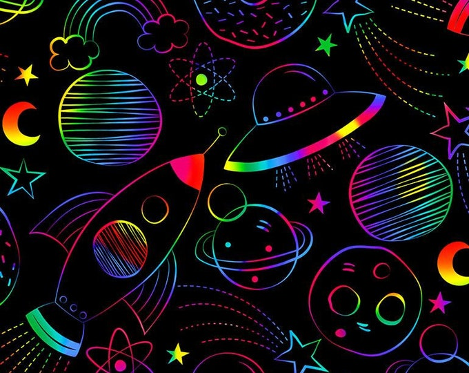 Timeless Treasures - Drawn Rainbow Silence Fun-C7433-Black - Cotton Woven Fabric
