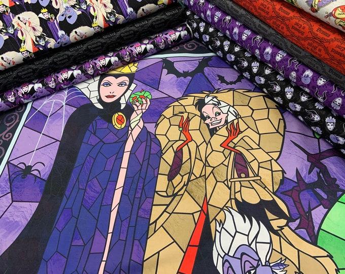 Camelot Fabrics - Disney Villains Diabolically Devious - Fat Quarter bundle of. 9 prints (Panel not included)  Cotton Woven Fabric
