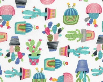 CLEARANCE -      Potted Cactus on White Cotton Woven Fabric - Price per yard
