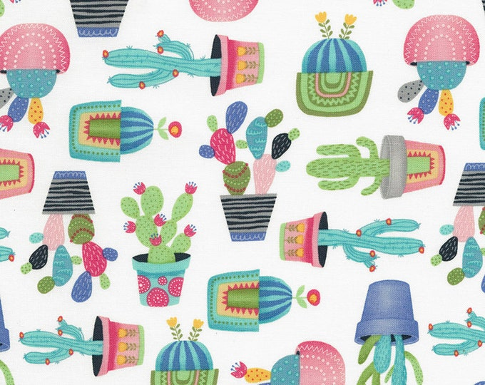 CLEARANCE -   Timeless Treasures - Alpaca Adventures Potted Cactus on White Cotton Woven Fabric - Price per yard