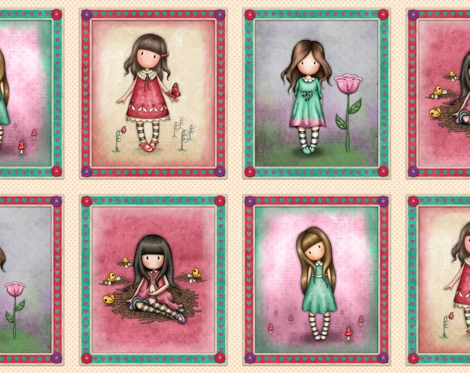 """Quilting Treasures - Truly Gorjuss for Santoro - 24"""" Medium Picture Patches 27796 E - Cotton Woven Fabric"""