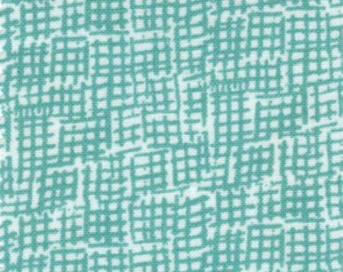 Dear Stella - Turquoise crosshatch Net Cotton Woven