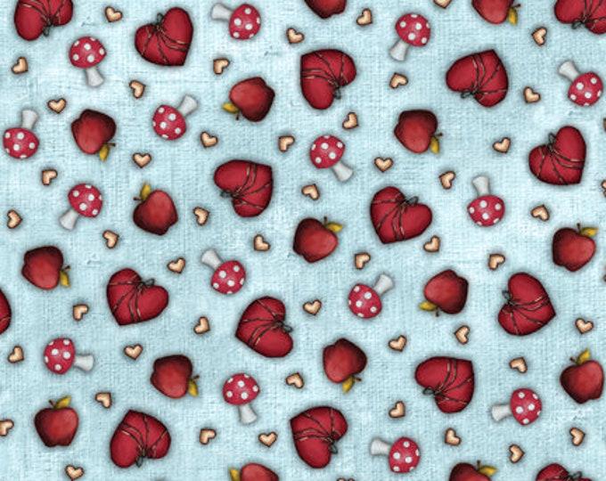 Quilting Treasures - My Story Licensed Santoro - Light Blue Heart & Mushroom Toss 27143-B - Cotton Woven Fabric