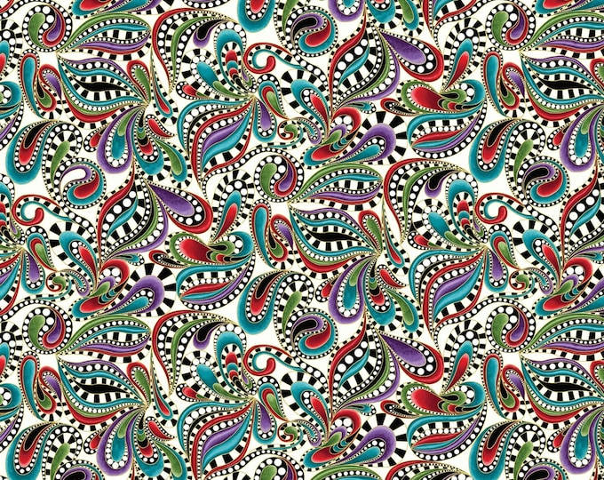 Benartex Fabrics  - Cat-i-tude Christmas by Ann Lauer -White/Multi Paisley Swirl Cotton Woven Fabric with Metallic Accents 7553MB-09