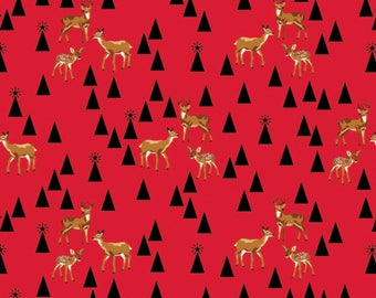 Tula Pink - Limited Edition Holiday Homies - Bambi Life - Holly Berry  Cotton Woven Fabric