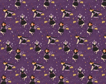 Riley Blake - Fab-Boo-Lous Witches by Dani Mogstad - Witches Purple #C8171R-PURPL Cotton Woven Fabric