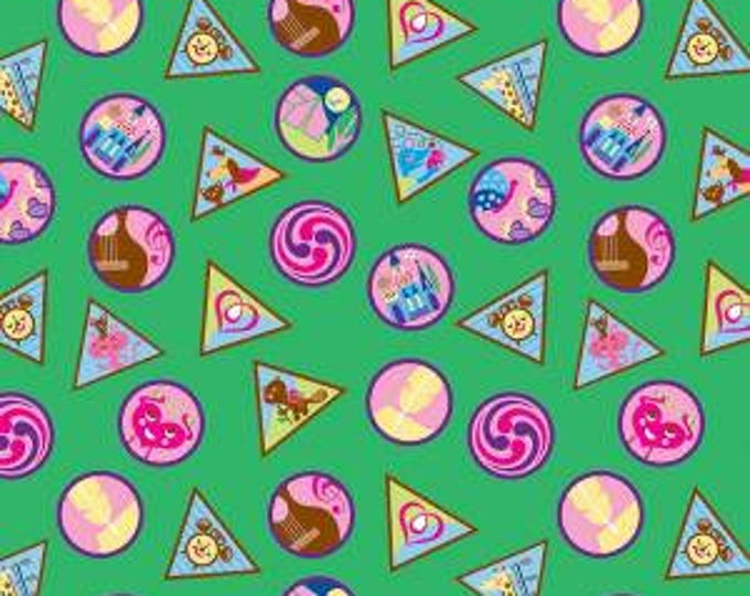 Riley Blake Fabric - Licensed Girl Scout Badges on Green Cotton Woven Fabric