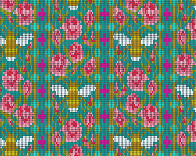 Andover Fabrics - Handiwork by Alison Glass - Bead Work Peacock #9250-T - Cotton Woven Fabric