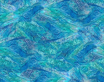 3 Wishes Fabric - Ray of Hope by Josephine Wall - Wings Digitally Printed # 16045-BLU - Cotton Woven Fabric