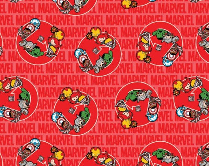 Springs Creative - Kawaii Heroes on Red Cotton Woven Fabric
