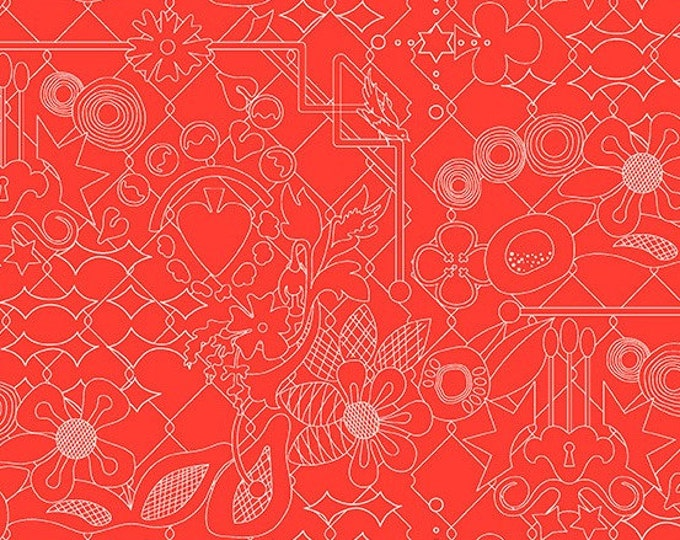 Andover Fabrics - Sun Print 2017 by Alison Glass -   A-8482-O Overgrown design in Nectarine Cotton Woven Fabric