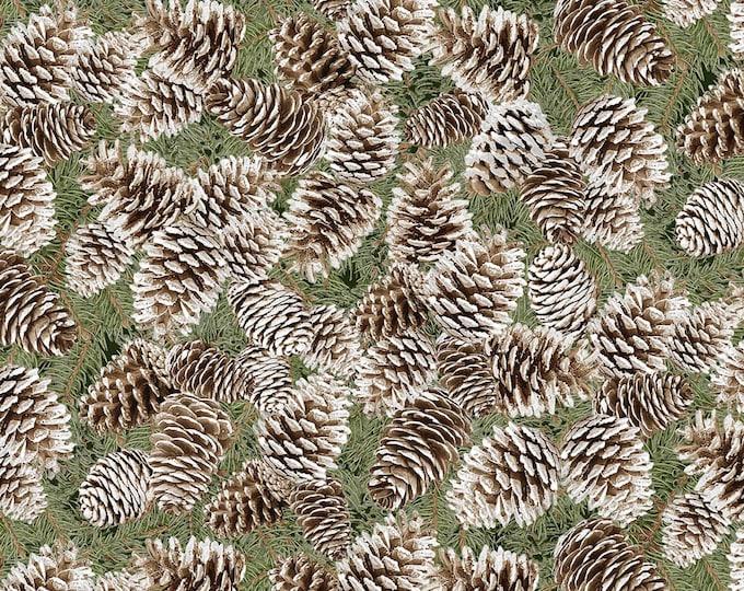 Timeless Trasures - Pinecone with Metallic #CM6962-PINE Metallic Cotton Woven Fabric
