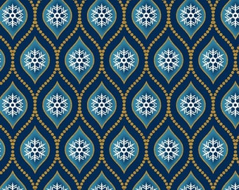 In The Beginning - Celestial Winter by Jason Yenter - Snowflakes - Blue   7ACW-1M Metallic Cotton Woven Fabric