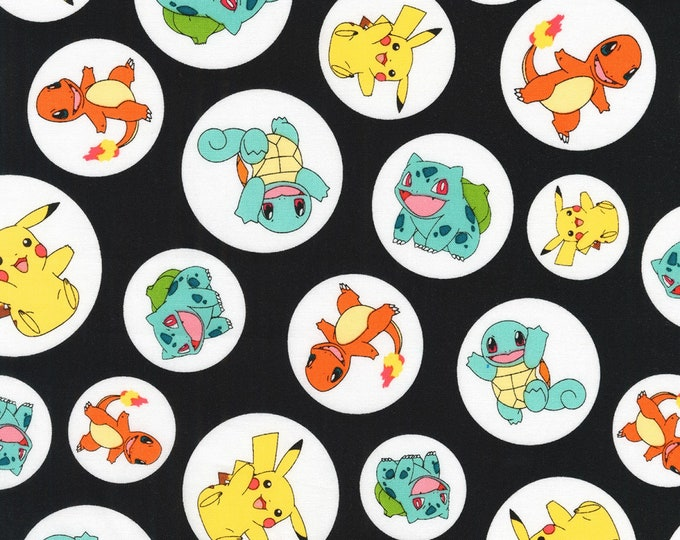 Pikachu on Black in circles Cotton Woven