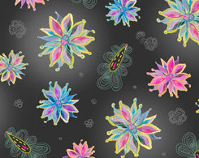 Quilting Treasures - Enchanted Floral - Small Flowers- Black - Cotton Woven Fabric