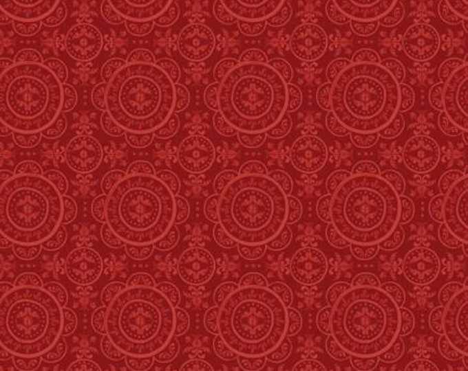 Mulberry Blooms Medallion on Red Cotton Woven