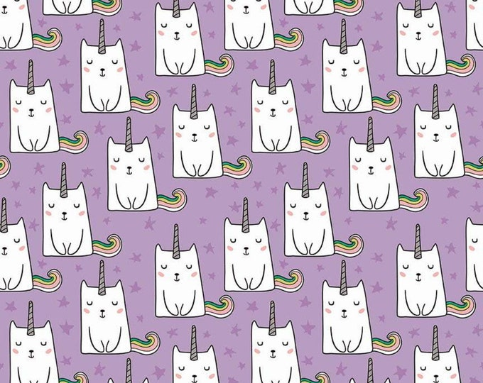 Caticorn Novelty Lilac w/SILVER Metallic accents SC9008-LILAC - Webster's Pages for Riley Blake Fabrics