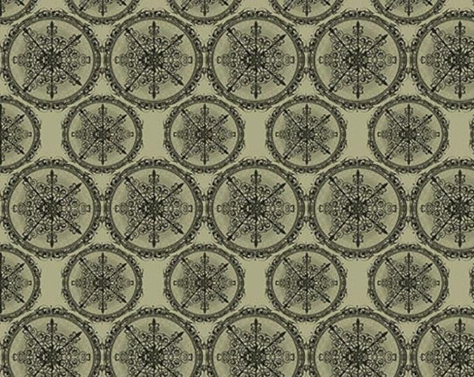 Santoro Adrift Mermaid Star Medallions Dark Sage cotton woven fabric
