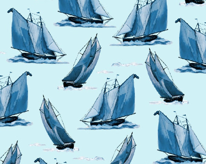 CLEARANCE  -  Quilting Treasures Sail Away, Light Ocean Blue Sailboats Cotton Woven 1 Yard- Price is per yard  -