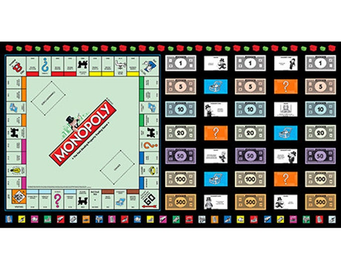 Monopoly Game Board Panel Cotton Woven by Quilting Treasures