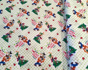 Springs Creative - Licensed Disney's Mickey and Friends Christmas Together on white Cotton Woven Fabric