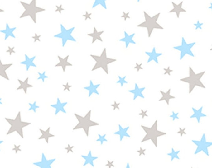CLEARANCE -       Blue and Gray Stars on White Team Thomas by Quilting Treasures - 1 yard price