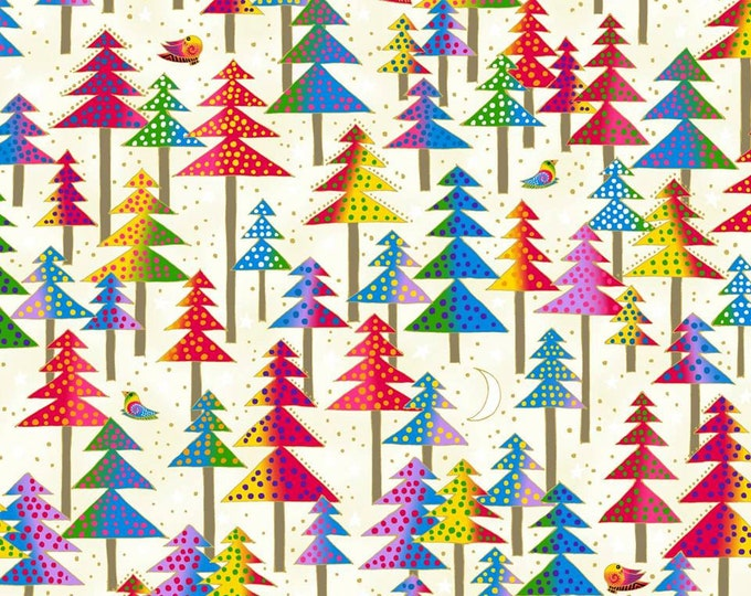 Clothworks - Enchantment by Laurel Burch -  Metallic, Multi Trees on White Cotton Woven Fabric