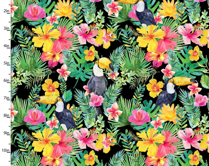 3 Wishes Fabric - Tropicale - Digitally Printed - Toucan  13779 Cotton Woven Fabric