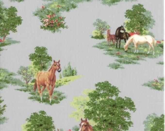 Moda - Purebred II Paddock Scenic in Gray Cotton Woven