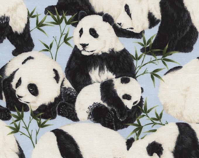 Timeless Treasures Panda Bears Black and White on Cotton Woven
