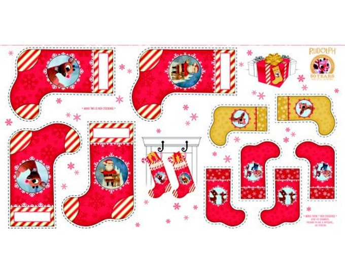 """Quilting Treasures - Rudolph 50 Years Celebration - Santa Claus Stocking Pattern 24"""" Panel Cotton Woven Fabric"""