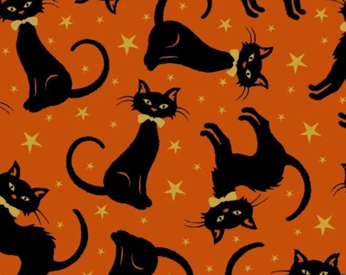 Midnight Spell - Metallic Cats on Orange - Cotton Woven