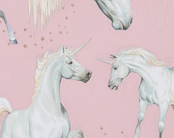 Alexander Henry, Pink Stars of the Sky  Unicorns Cotton Woven Fabric