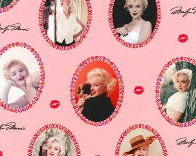 Marilyn Monroe Lipstick Pink Cotton Woven by Robert Kaufman