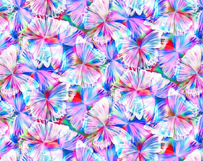 Hoffman Fabrics - Punch Butterflies 104in Wide Back Digitally Printed # WQ4425H-474 - Quilt Backing    - Cotton Woven Fabric