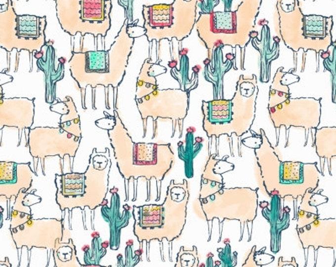 Dear Stella - No Drama Llama - Dear Stella  - Llamaste - Llamaste on White Stella - 1174 Cotton Woven Fabric