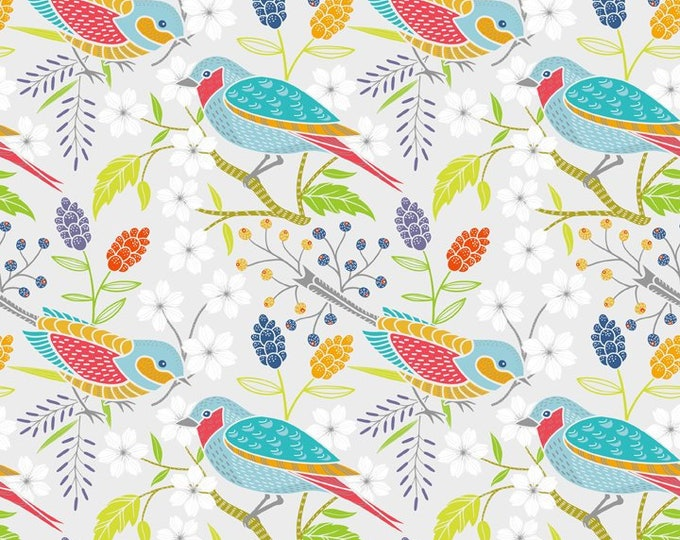 Doodle Blossom - Birds - Digitally Printed Cotton Woven Fabric