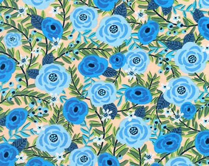 Blue Flowers Cotton Lycra Knit