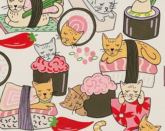 Alexander Henry Fabric - Sushi, Kitty Rolls - 8670A - cotton woven fabric