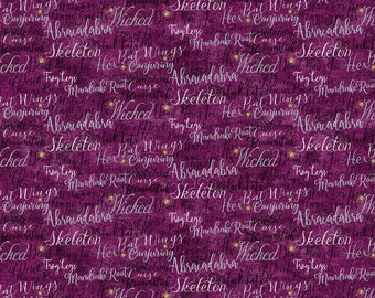 Northcott - Elegantly Frightful - Glitter Words on Purple - Cotton Woven Fabric GL22197-84