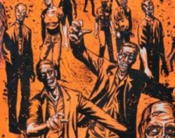 Orange Alexander Henry Fabric Walking Undead Walker Zombies Halloween Zombie
